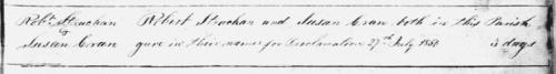 1850 marriage Robert Strachan and Susan Cran