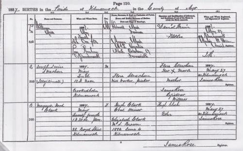 1887 birth Joseph Irvine Strachan