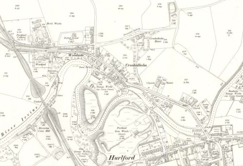1910 map of Crookedholm showing Portland Colliery