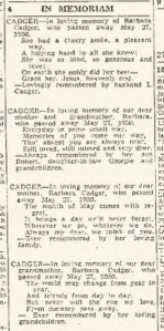 Barbara Cadger 1950 death notices