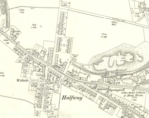 Gilbertfield Buildings on 1910 map