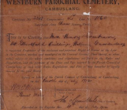 Westburn Cemetary Title Deeds