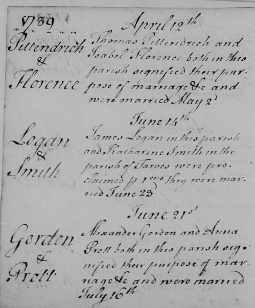 1789 marriage James Logan and Katharine Smith