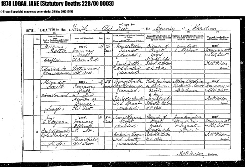 1878 Death Jean:Jane Logan age 84